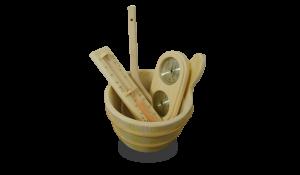 kit saunas termometro-teloj-arena-higromero-cubo-y-cazo-parakit